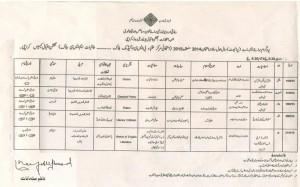 date sheet MA 1