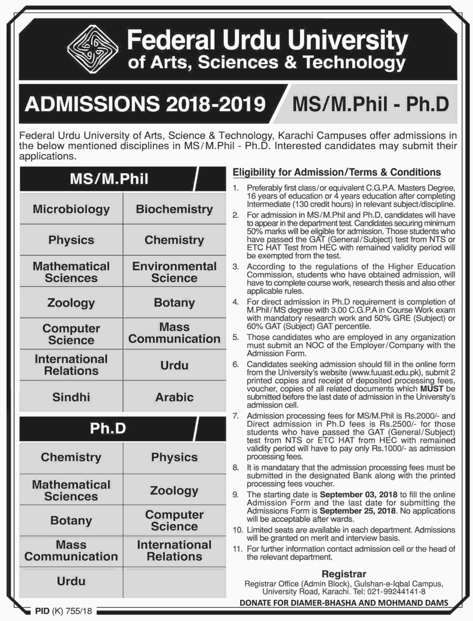 Admission 2018-19 MS/MPhil & PhD – FUUAST